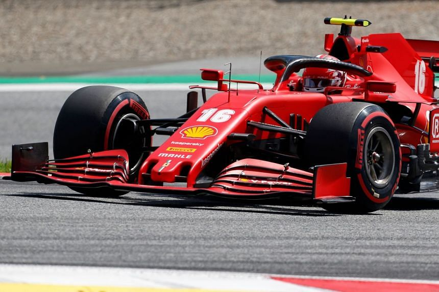 Leclerc steers his car during the qualifying session.
