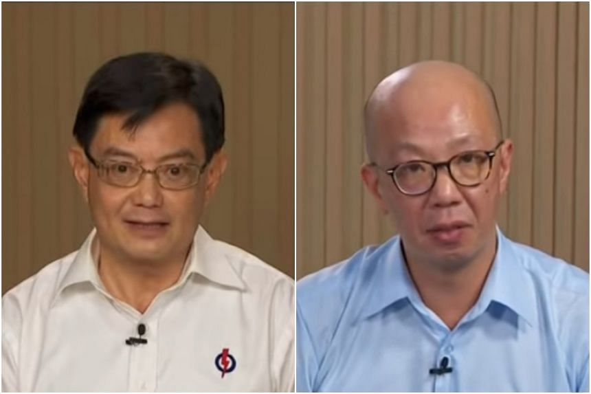 Deputy Prime Minister Heng Swee Keat and WP's Terence Tan speaking in televised broadcasts on July 4, 2020.
