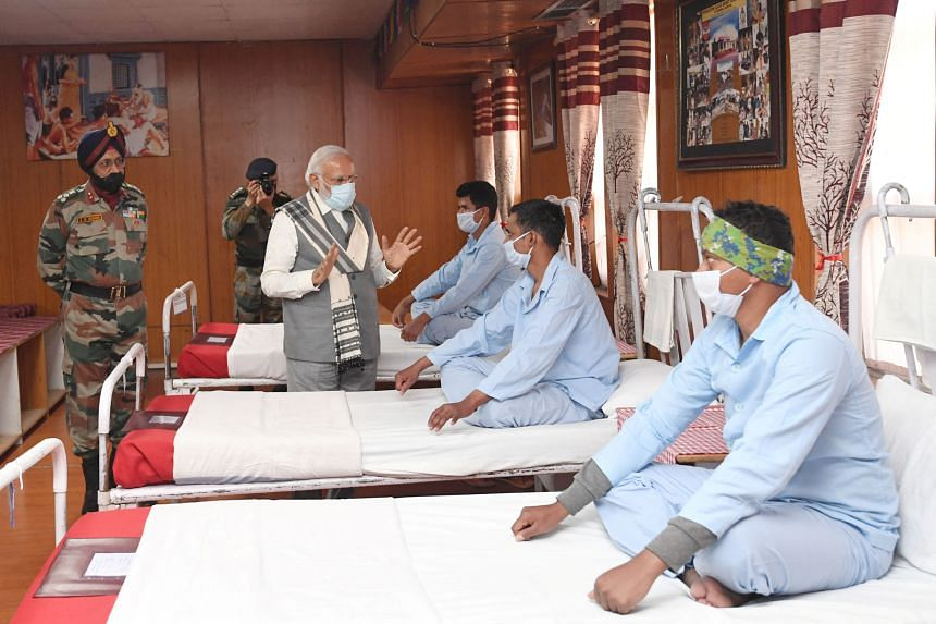 Indian Prime Minister Narendra Modi visits an army hospital in the Himalayan region of Ladakh on July 3, 2020.