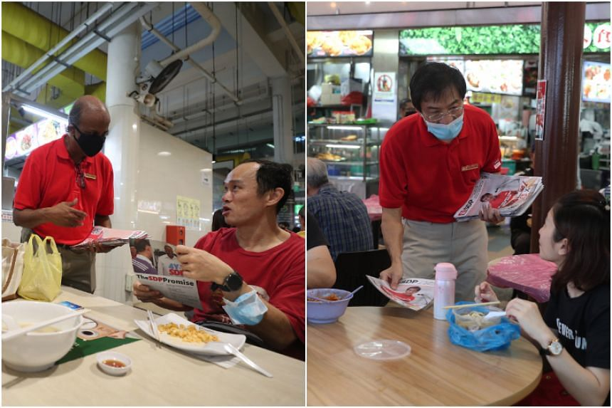 Singapore Democratic Party leaders Paul Tambyah and Chee Soon Juan on walkabouts in Bukit Panjang and Bukit Batok respectively on July 4, 2020.