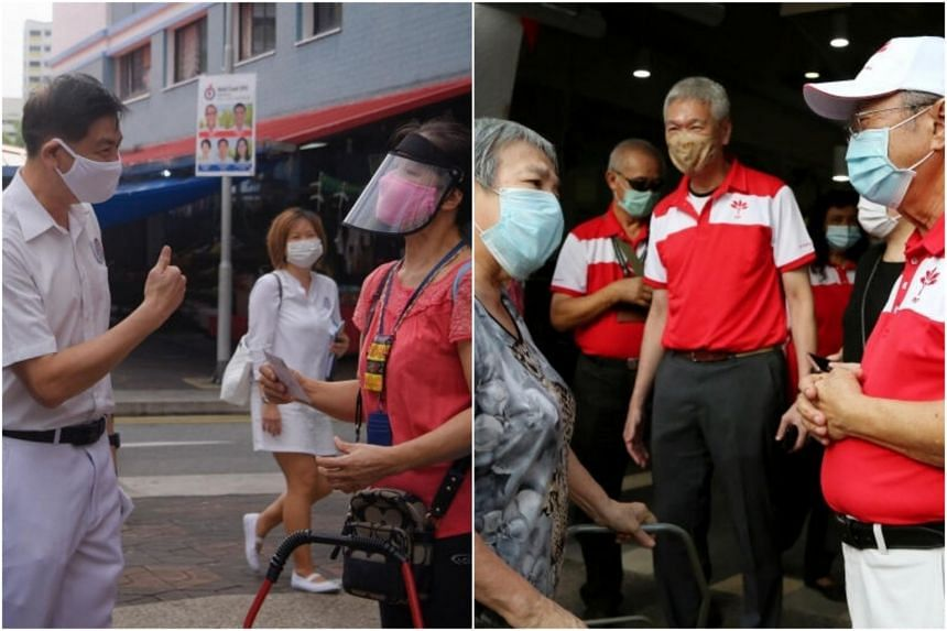 PAP candidate for West Coast GRC Ang Wei Neng speaks to a resident during a walkabout at 964 Jurong West St 91, while PSP's Tan Cheng Bok and Lee Hsien Yang were spotted at Redhill Market.