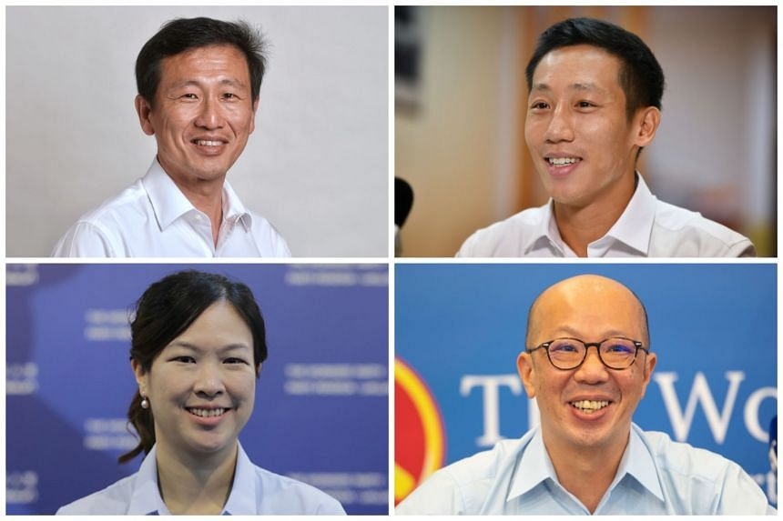 (Clockwise from top left)  Education Minister Ong Ye Kung, PAP new face Xie Yao Quan, Workers' Party candidates Terence Tan and He Ting Ru