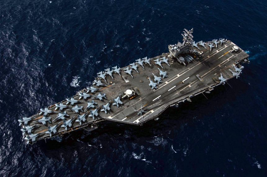 An aerial photo of the USS Ronald Reagan.
