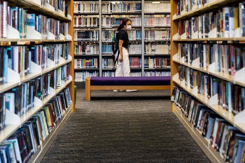 A woman in a public library in Hong Kong on July 4, 2020.