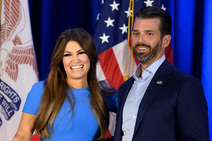 Donald Trump Jr and his girlfriend Kimberly Guilfoyle in Des Moines, US, on Feb 3, 2020.