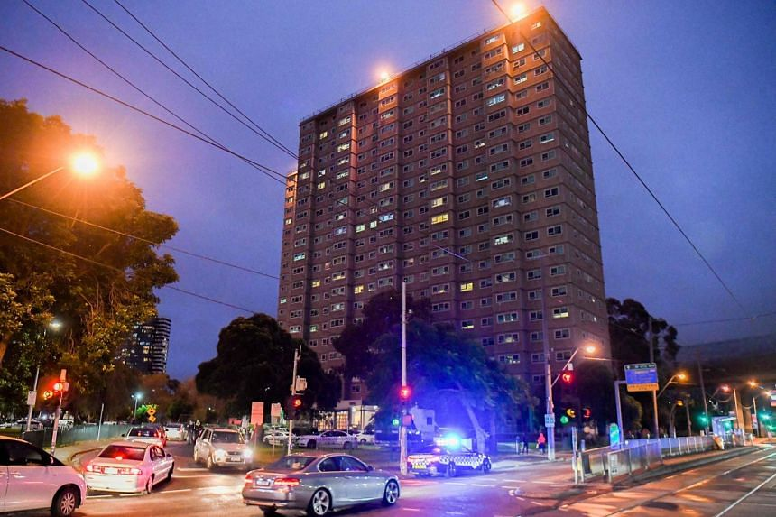 Hundreds of police were deployed to enforce the lockdown of nine public housing towers.