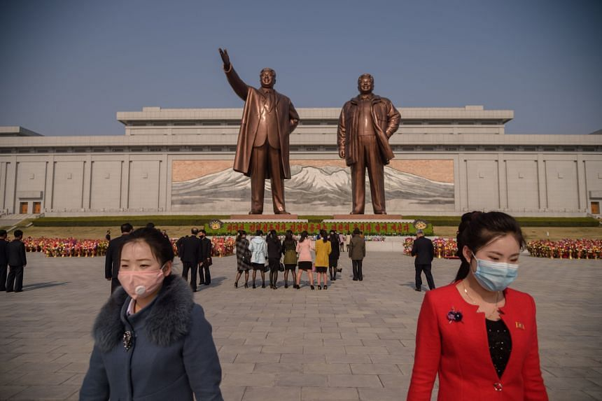 The statues of late North Korean leaders Kim Il Sung and Kim Jong Il in Pyongyang on April 15, 2020.