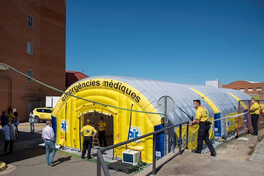"A field hospital in Segria, Catalonia July 3, 2020. There has been a ""sharp rise"" in coronavirus infections in Segria."