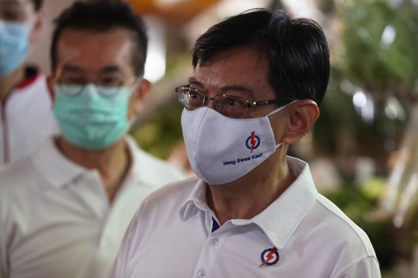 Deputy Prime Minister Heng Swee Keat during a walkabout in Bedok South on July 5, 2020.