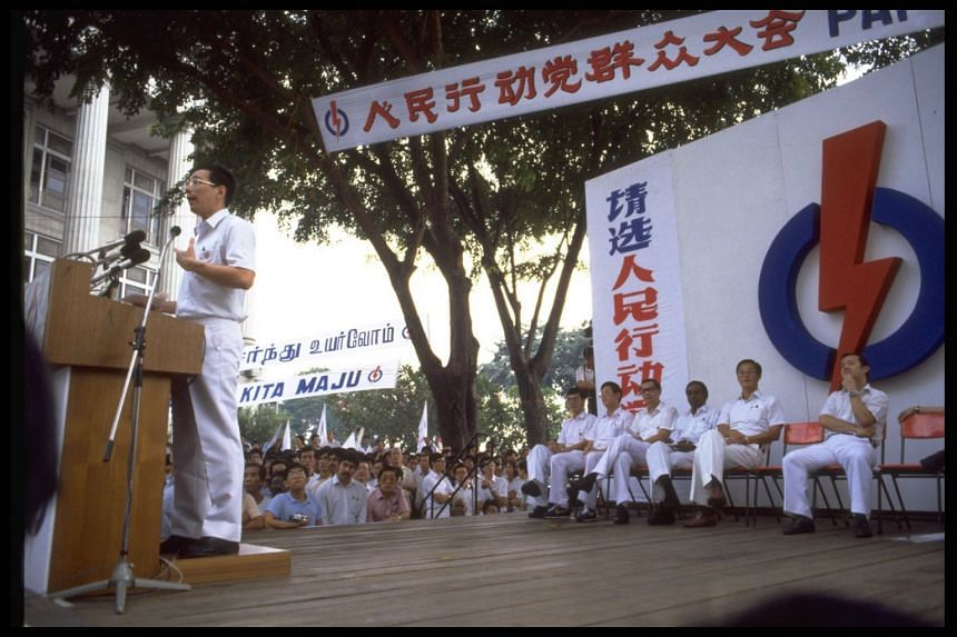 In a Facebook post, Prime Minister Lee Hsien Loong noted that he spoke at the PAP's lunchtime rally at Fullerton Square back in his first election in 1984.