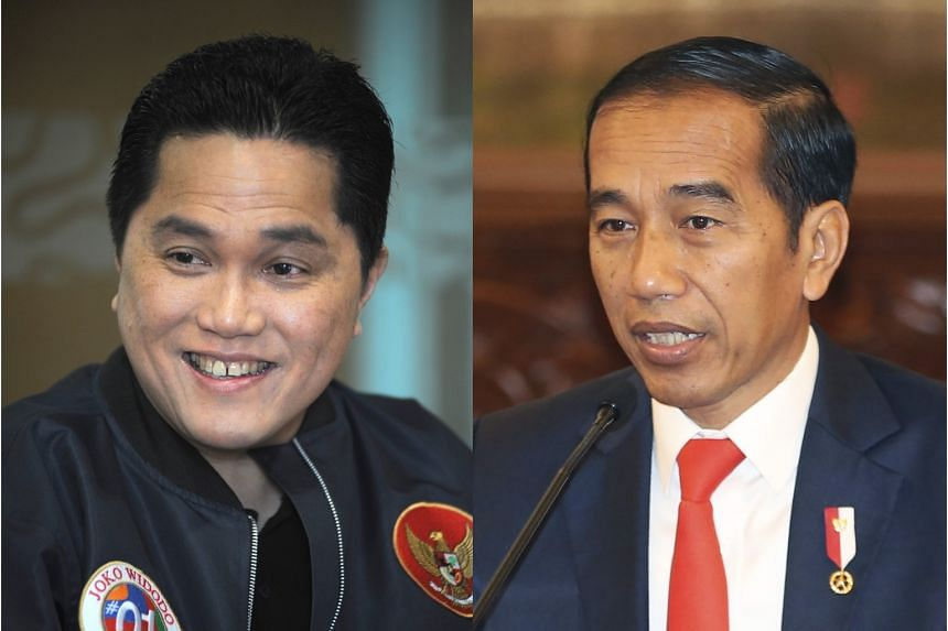 Indonesia's Minister of State-Owned Enterprises Erick Thohir (left) headed the campaign to re-elect President Joko Widodo last year. Mr Erick has been accused of failing to appoint PDI-P cadres to senior posts in his ministry, as promised by Mr Joko.
