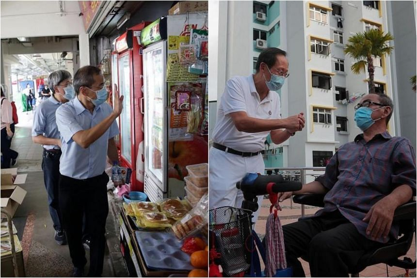 The Workers' Party's Hougang candidate Dennis Tan (left) and PAP candidate for Marine Parade GRC Tan See Leng PAP campaigning in their respective constituencies.