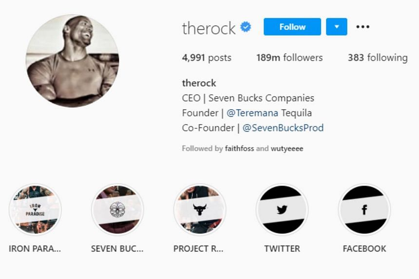Dwayne 'The Rock' Johnson can charge advertisers approximately US$1 million for each sponsored post.