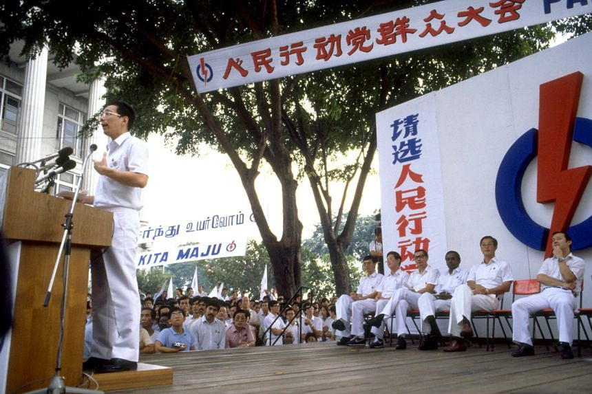 Prime Minister Lee Hsien Loong speaking at his first election in 1984, at the People's Action Party's lunchtime rally at Fullerton Square. Founding prime minister Lee Kuan Yew started these rallies in 1959 as a way to reach out directly to the Englis