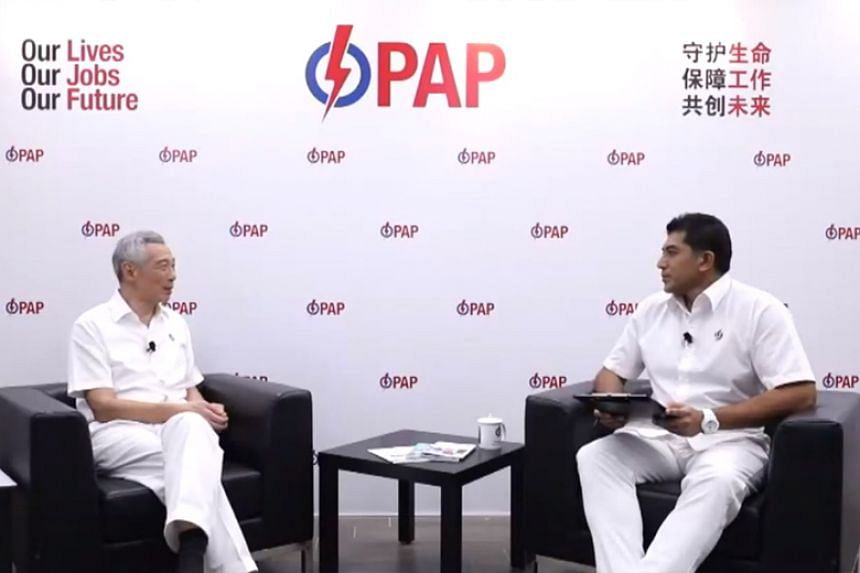Prime Minister Lee Hsien Loong and fellow Ang Mo Kio GRC candidate Darryl David during the constituency's Facebook live rally on July 6, 2020.