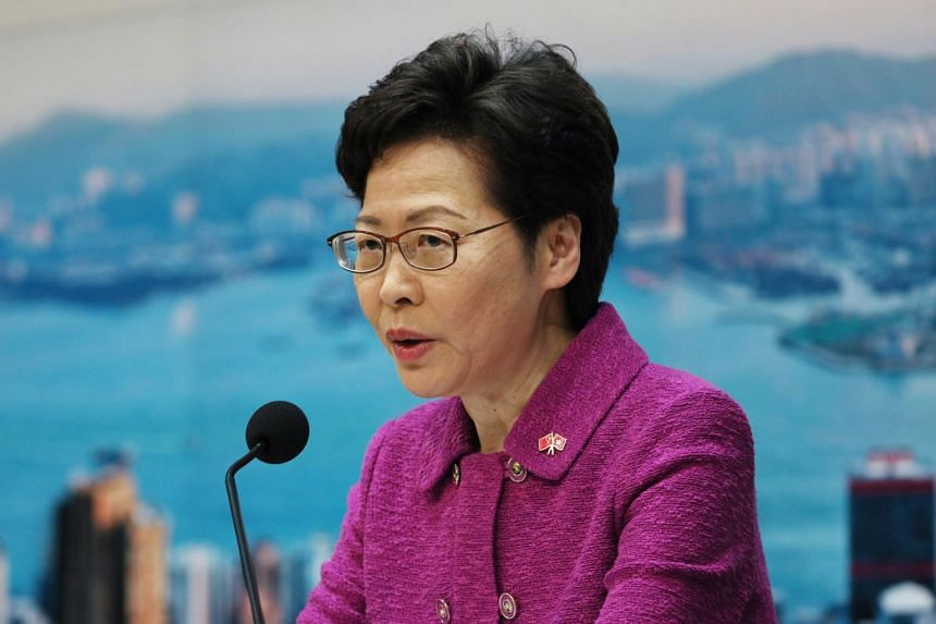 In a photo from July 1, 2020, Hong Kong's Chief Executive Carrie Lam speaks during a press conference.