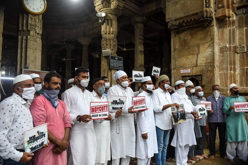 Protesters in Ahmedabad calling for a boycott of China products last Friday. Anti-China sentiment has been growing in India since the high-altitude clash between Indian and Chinese forces in Galwan Valley, with the government banning Chinese mobile a