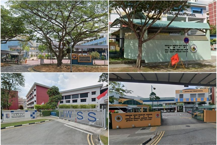 (Clockwise from top left) Bedok View Secondary School, East Spring Primary School, Jurong West Primary School and Jurong West Secondary School.