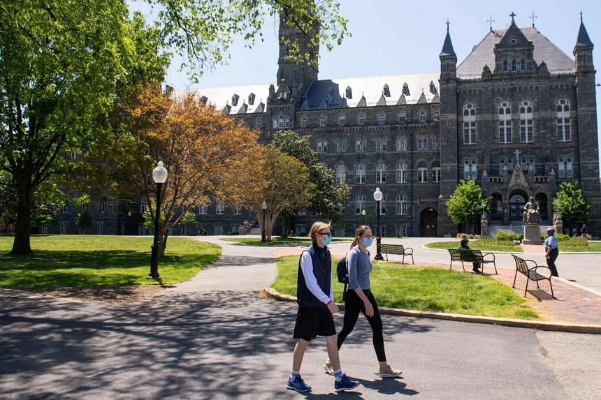 A photo from May 7, 2020, shows the nearly empty campus of Georgetown University in Washington, DC.