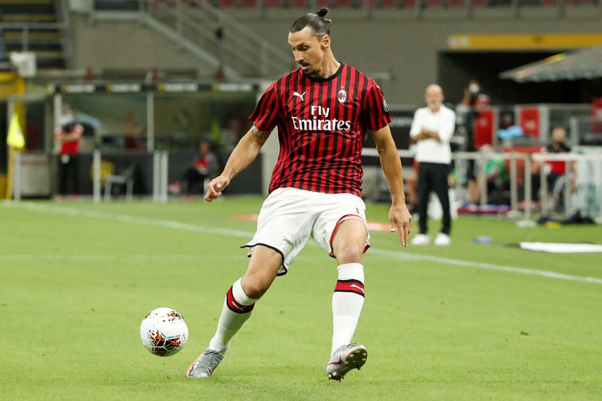 Zlatan Ibrahimovic in action in Milan, Italy, on July 7, 2020.