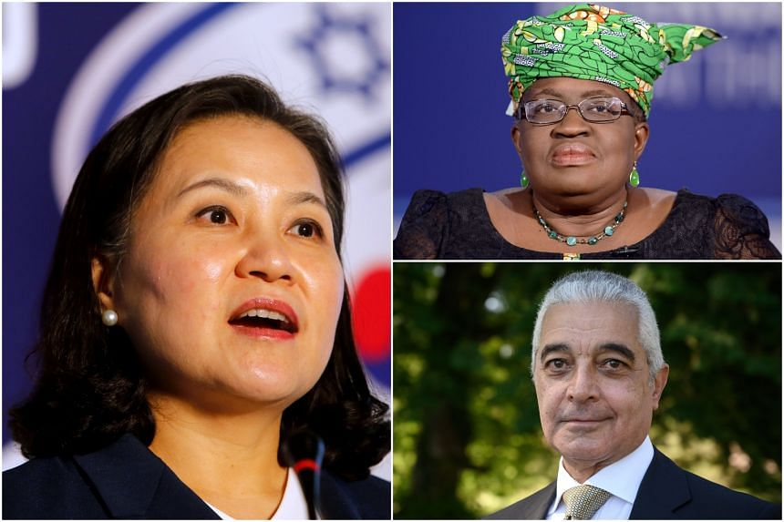 (Clockwise from left) South Korean Trade Minister Yoo Myung-hee, former Nigerian finance minister Ngozi Okonjo-Iweala and Egyptian former diplomat Hamid Mamdouh are among the candidates.