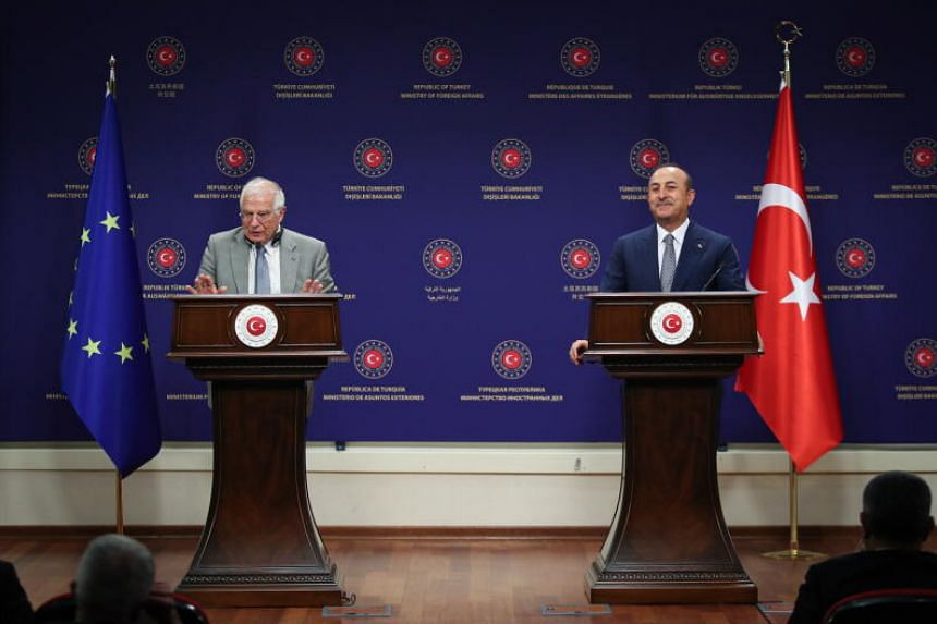 EU foreign policy chief Josep Borrell (left) and Turkey's foreign minister Mevlut Çavuşoğlu during a press conference in Ankara on July 6, 2020.