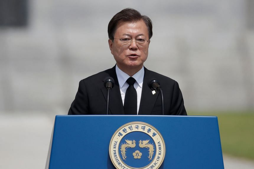 President Moon Jae-in speaks during a Memorial Day ceremony in Daejeon, South Korea, on June 6, 2020.
