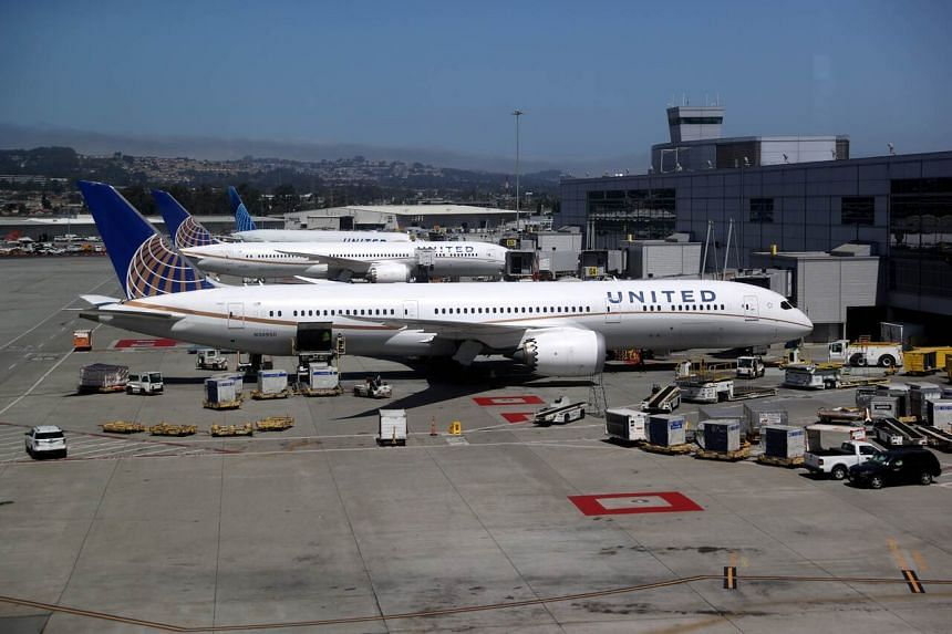 United Airlines planes parked at San Francisco International Airport on July 8, 2020.