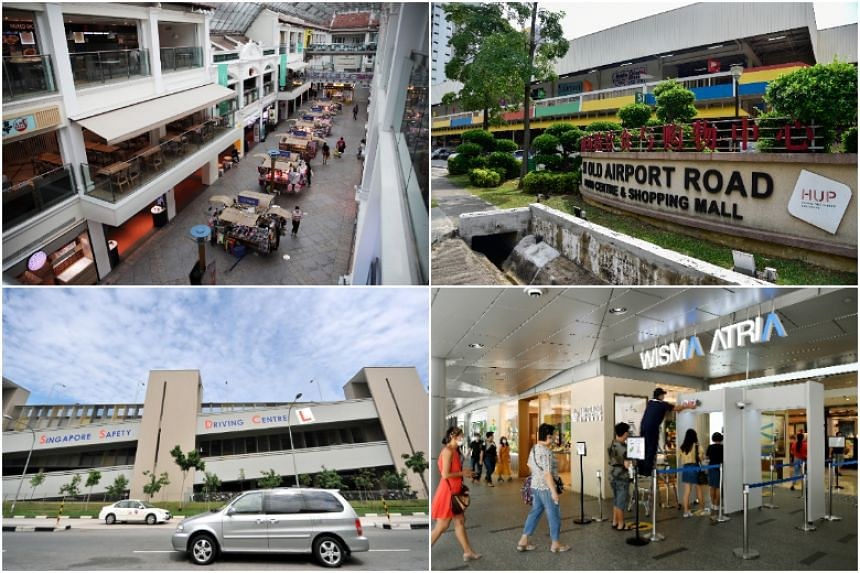 (Clockwise from top left) Bugis Junction, Old Airport Road Food Centre, Wisma Atria and the Singapore Safety Driving Centre are among the places visited by Covid-19 patients while they were infectious.