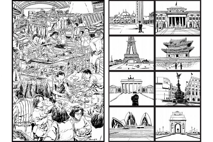 It's Not The End, by graphic artist Koh Hong Teng, opens with a full-page panel (left), but gets crowded with more panels in the subsequent pages (right) as it documents the spread of the coronavirus around the world.