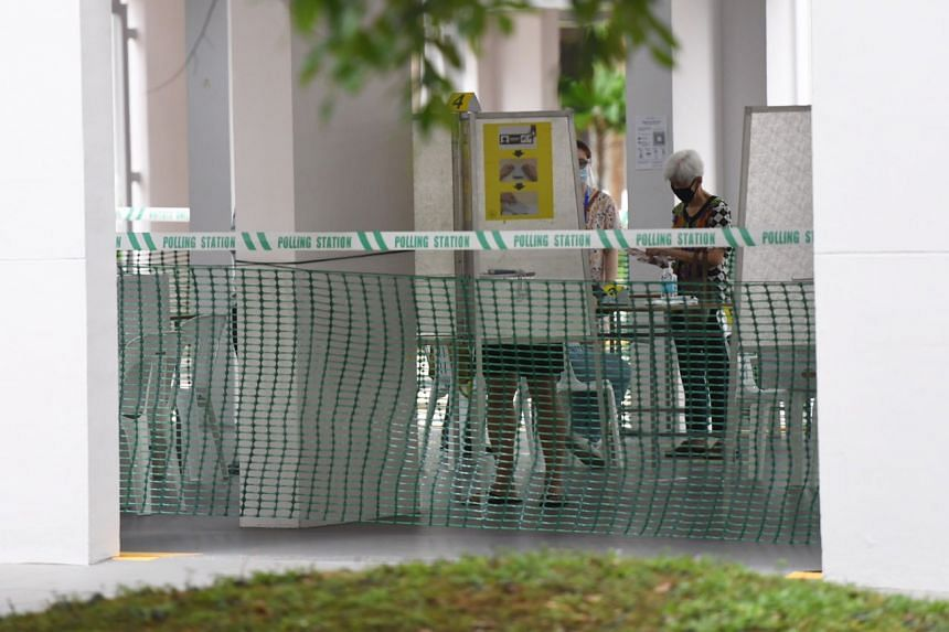 An elderly voter at a polling station at Block 5 Boon Keng Road, on July 10, 2020.