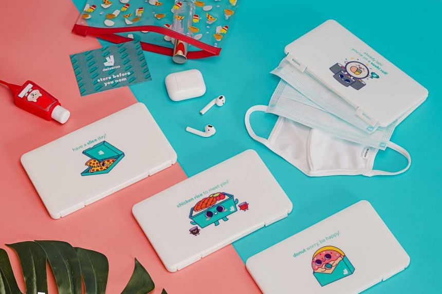 Food delivery platform Deliveroo unveiled an exclusive collection of mask cases designed by local illustrator Tan Si Qi.
