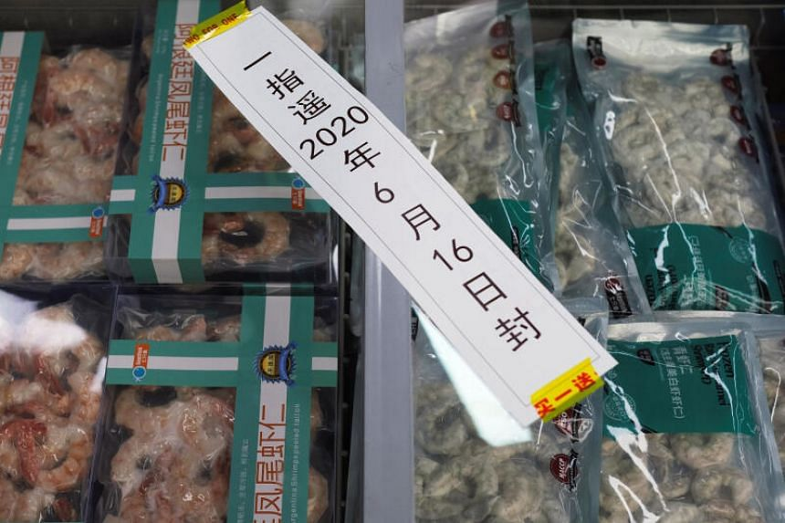 Frozen seafood products made of imported shrimps at a supermarket following a new outbreak of the coronavirus in Beijing on June 19, 2020.