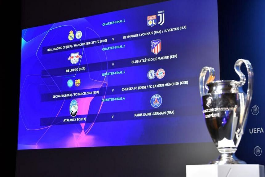 A screen displays the results of the Uefa Champions League 2019/20 final stage draw in Nyon, on July 10, 2020.