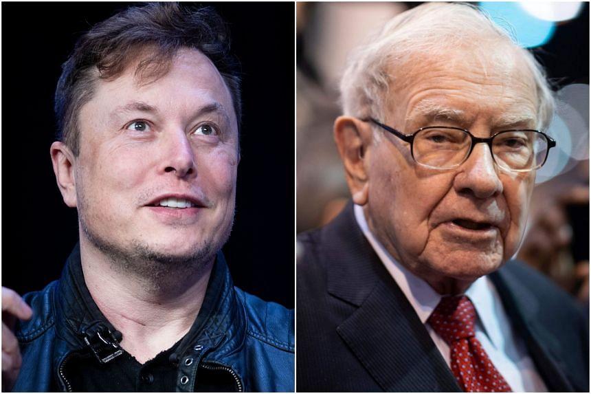 Elon Musk (left) is the latest tech entrepreneur to rise above Warren Buffett in the ranks of the world's richest.