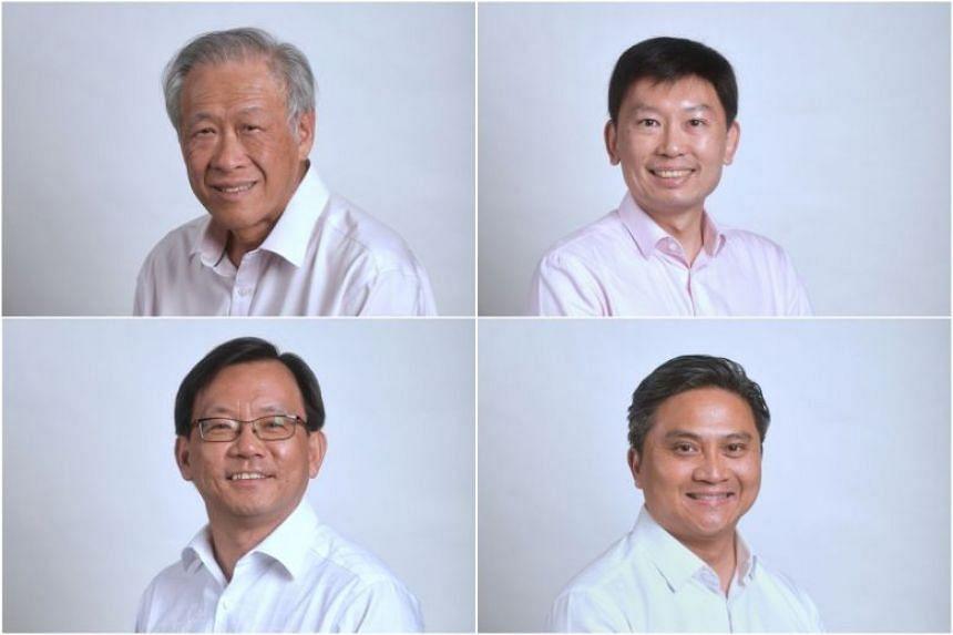 The PAP's Bishan-Toa Payoh GRC candidates (clockwise from top left) Ng Eng Hen, Chee Hong Tat, Saktiandi Supaat and Chong Kee Hiong.