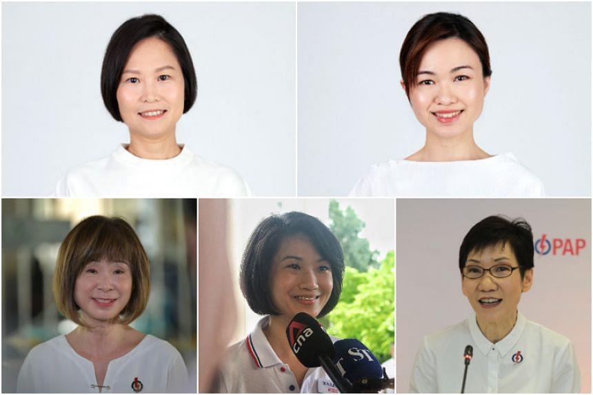 (Clockwise from top left) PAP candidates Gan Siow Huang, Tin Pei Ling, Grace Fu, Sun Xueling and Amy Khor.