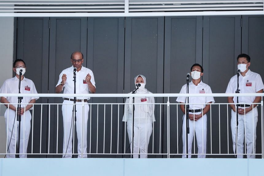 (From left) People's Action Party candidates for Jurong GRC Tan Wu Meng, Tharman Shanmugaratnam, Rahayu Mahzam, Xie Yao Quan and Shawn Huang.