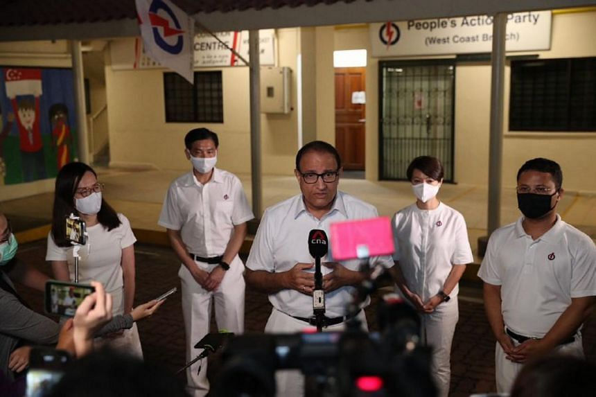 PAP West Coast GRC candidates (from left) Rachel Ong, Ang Wei Neng, S. Iswaran, Foo Mee Har and Desmond Lee speaking to the media on July 11, 2020.