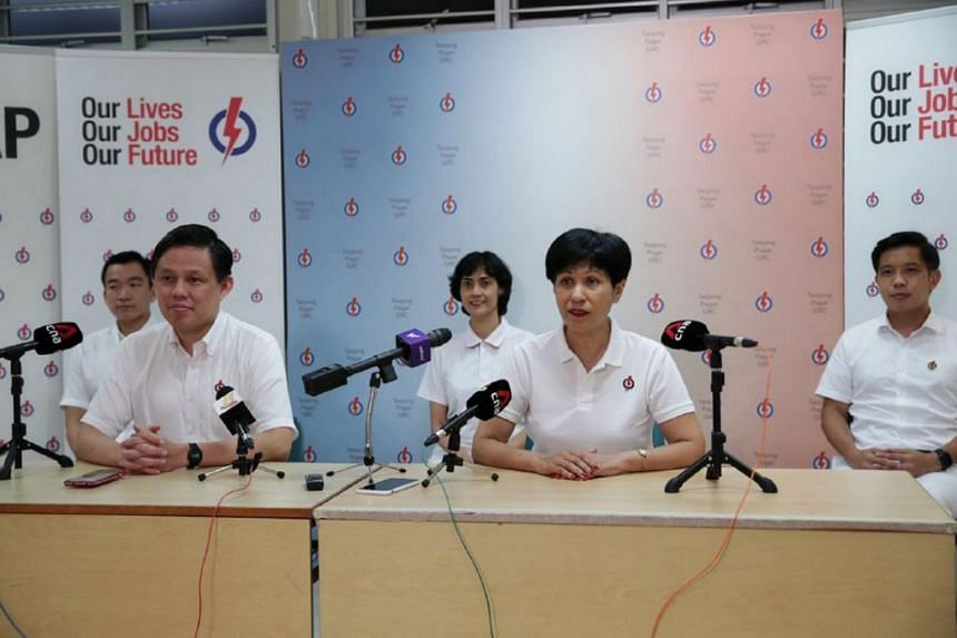 PAP candidates (from left) Mr Eric Chua, Mr Chan Chun Sing, Ms Joan Pereira, Ms Indranee Rajah and Mr Alvin Tan.