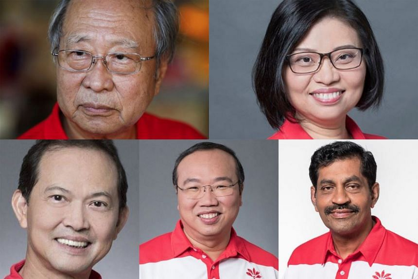 The Progress Singapore Party team that contested in West Coast GRC, comprising (top left) Dr Tan Cheng Bock, Ms Hazel Poa, (above, from left) Mr Leong Mun Wai, Mr Jeffrey Khoo and Mr Nadarajah Loganathan, will be offered seats in Parliament as NCMPs.