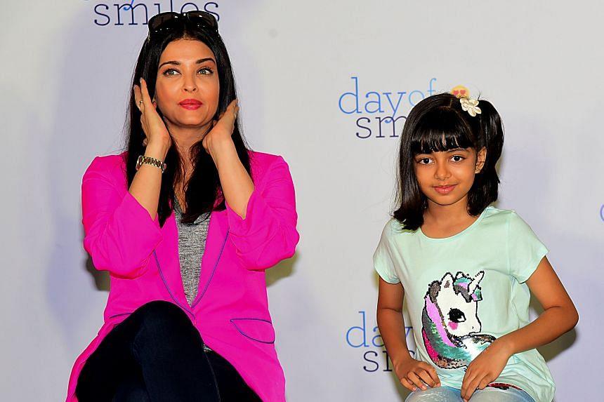 Aishwarya Rai Bachchan (left) and daughter Aaradhya Bachchan in Mumbai on Nov 20, 2019.
