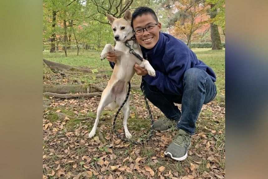 Explore Kyoto Gyoen National Garden and its wildflowers with Mr Lee Xian Jie and his dog Mori (both above).