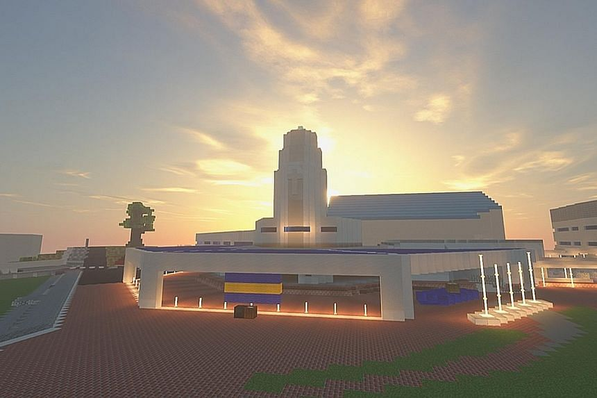 A screengrab from the virtual rendition of the Anglo-Chinese School (Independent) campus created by students on the sandbox video game Minecraft for potential students to visit the school online.