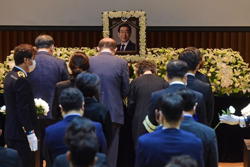 The funeral was limited to around 100 people because of coronavirus concerns.