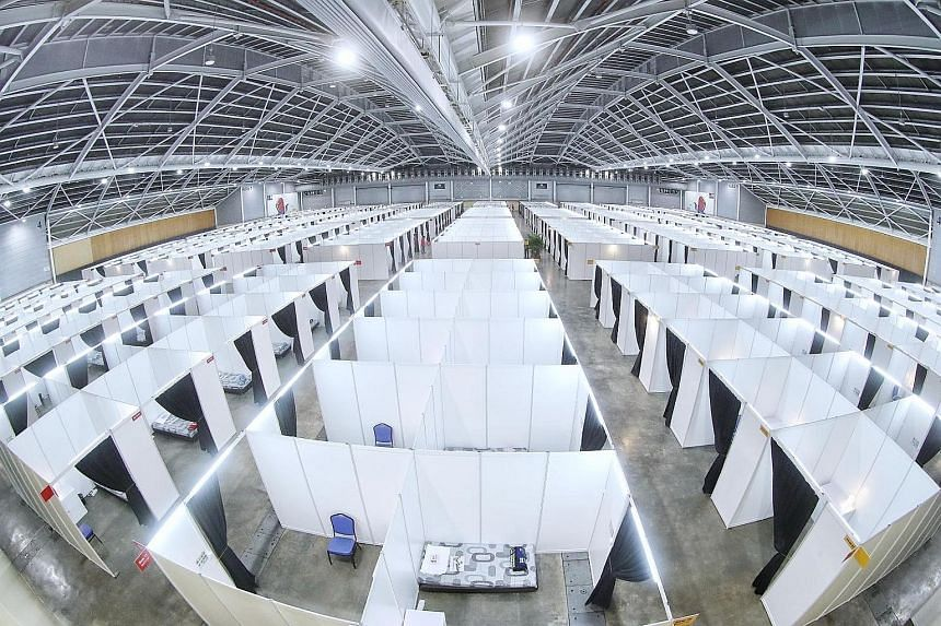 The first 950 beds at the Singapore Expo were set up within three days to start taking in recovering patients - even as the capacity was ramped up to its current 8,000 beds.