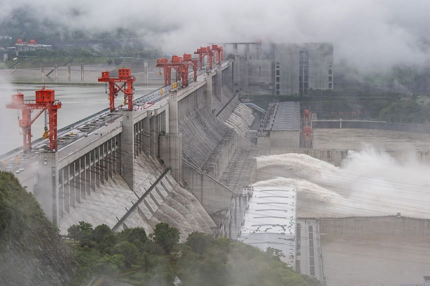 Water being released from the Three Gorges Dam, a gigantic hydropower project on the Yangtze river in China, on June 29, 2020.