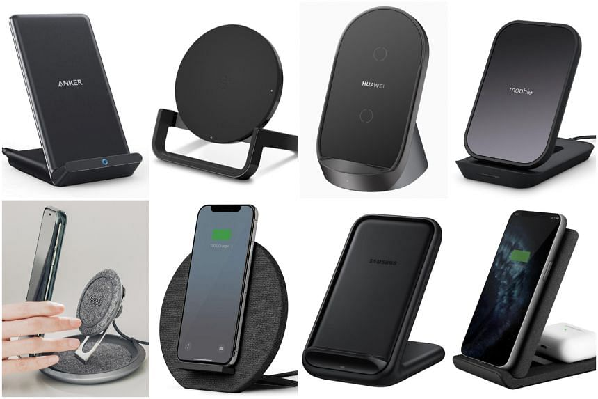(Clockwise from top left) Anker Powerwave Stand, Belkin Boostup Wireless Charging Stand, Huawei Supercharge Wireless Charger Stand, Mophie Wireless Charging Stand, Uniq Vertex Duo, Samsung EP-N5200Wireless Charging Stand, Native Union Dock Wireless C