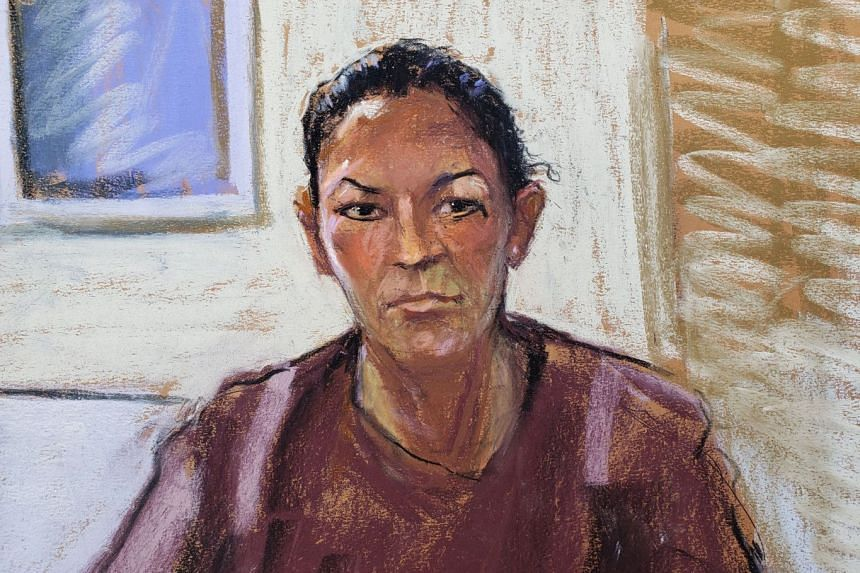 A courtroom sketch shows Ghislaine Maxwell appearing via video link during her arraignment hearing in New York.