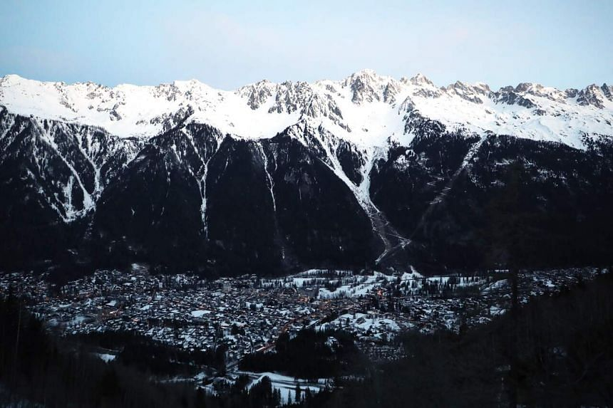A view of the town and ski resort of Chamonix in the French Alps on Feb 13, 2020.